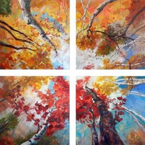 """What Dreams Are Made Of"" • Four 36"" x 36"" canvases to form a 72"" x 72"" quadriptych • textured oil painting on canvas"