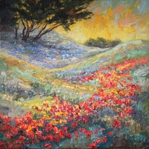 "April Rhythms II, Texas Hill Country ©2015 NIki Gulley • 36"" x 36"" textured oil painting"