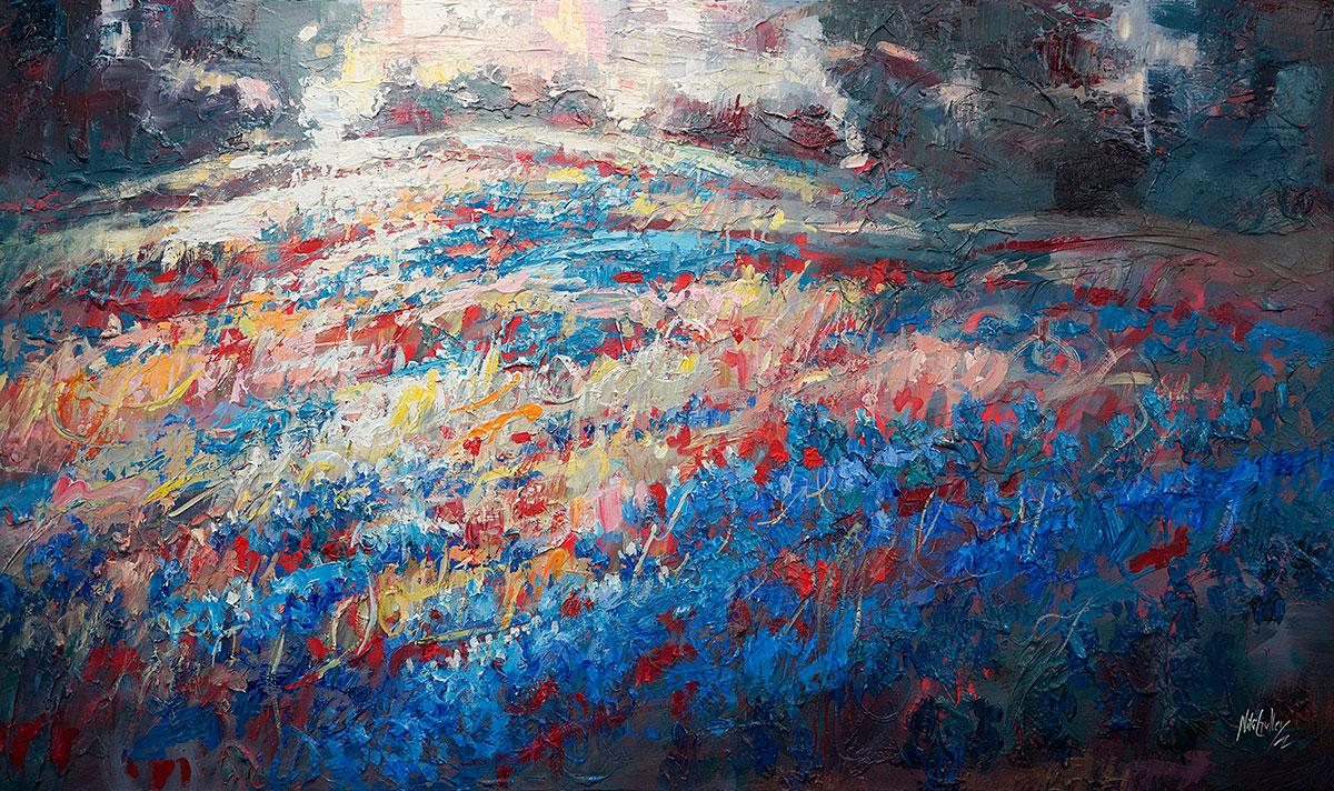 Texas, contemporary impressionist, dallas texas artist, blue bonnets, Niki Gulley paintings