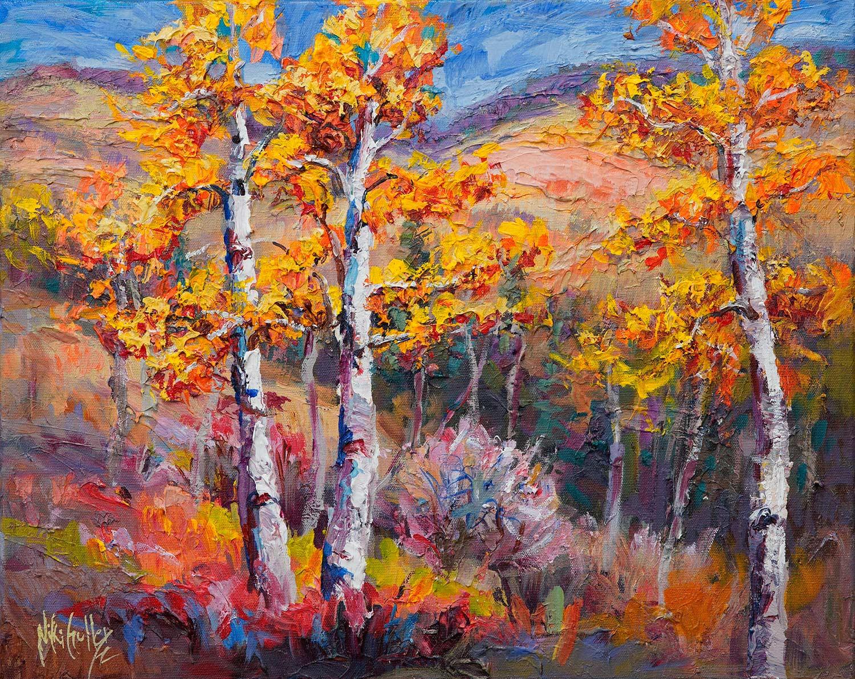 Niki Gulley, Dallas, aspen, contemporary impressionist, tree painting