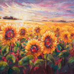 Niki Gulley, Dallas, contemporary impressionist, sunflower painting
