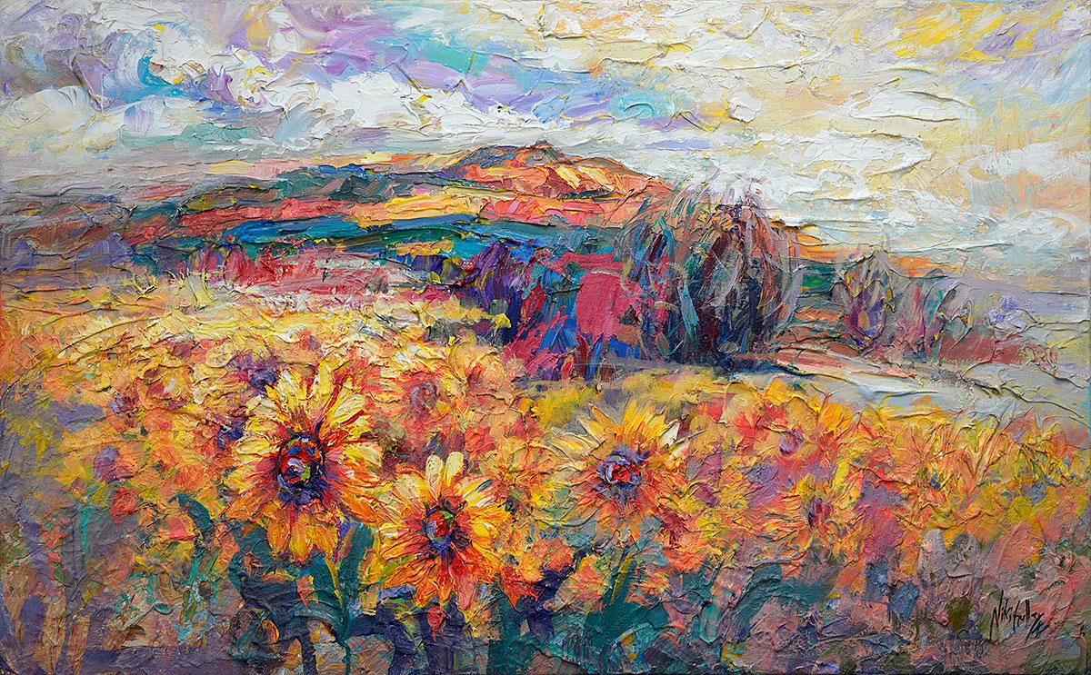 Niki Gulley, Dallas, Santa Fe, contemporary impressionist, sunflower painting