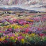 Niki Gulley, Dallas, Scotland, contemporary impressionist, heather, wildflower painting